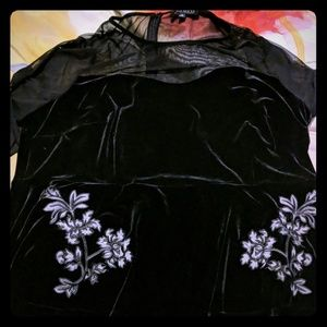 Eloquii velvet and raylon mesh top with floral
